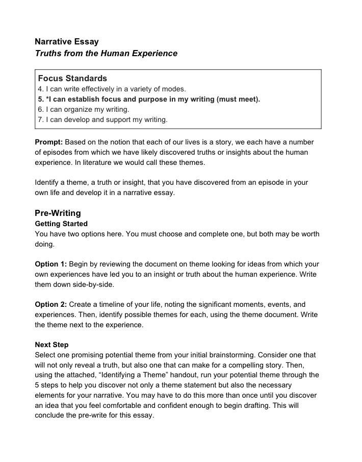 Essay On How To Start A Business For Narration We Will Tie Into Theme The Accompanying Handout On Theme Is  Very Similar To The One Above It Has Been Adapted To Be Used As A  Prewriting  Synthesis Essay Ideas also High School Reflective Essay Examples Moving Out Project  Day   Project  Synthesis Essay Topics