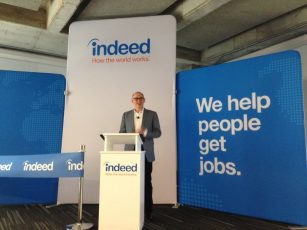 """A screenshot of an event put on by Indeed, featuring their slogan """"we help people get jobs,"""" a catchy mission statement used in illustrating how to write a good linkedin headline for job seekers."""