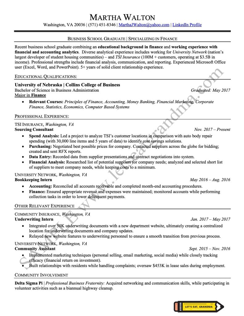 A clickable image of an entry level resume sample professionally done by Let's Eat, Grandma.