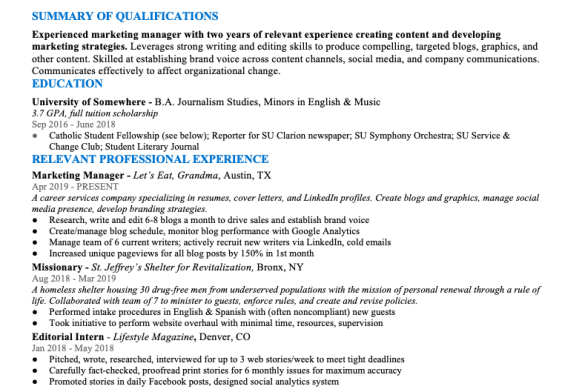 A screenshot of the author's resume demonstrating the flaw of too little resume line spacing.
