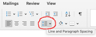 A screenshot of the author's resume in Microsoft Word with a crucial button for resume line spacing circled in red.