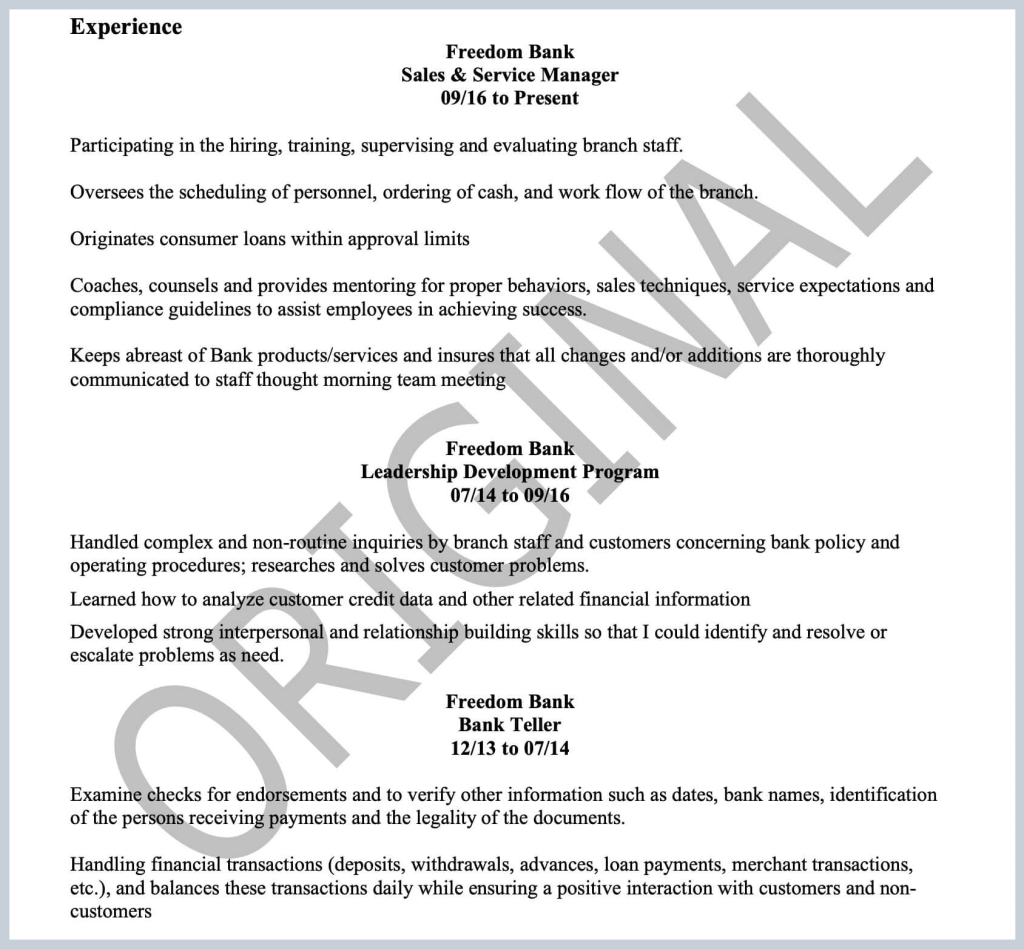 A screenshot of a Let's Eat, Grandma client's former resume, illustrating the common resume mistake of vague content without metrics.