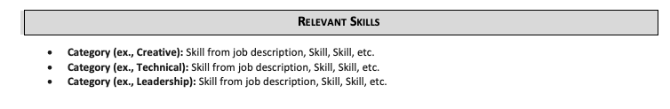 An example of a well-formatted skills section with several places to naturally include customer services on a resume.