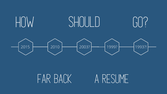 """A title graphic featuring a timeline and the article's title: """"How Far Back Should a Resume Go?"""""""