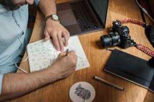 An stock photo of a person writing notes in a notebook next to a laptop and a digital camera.