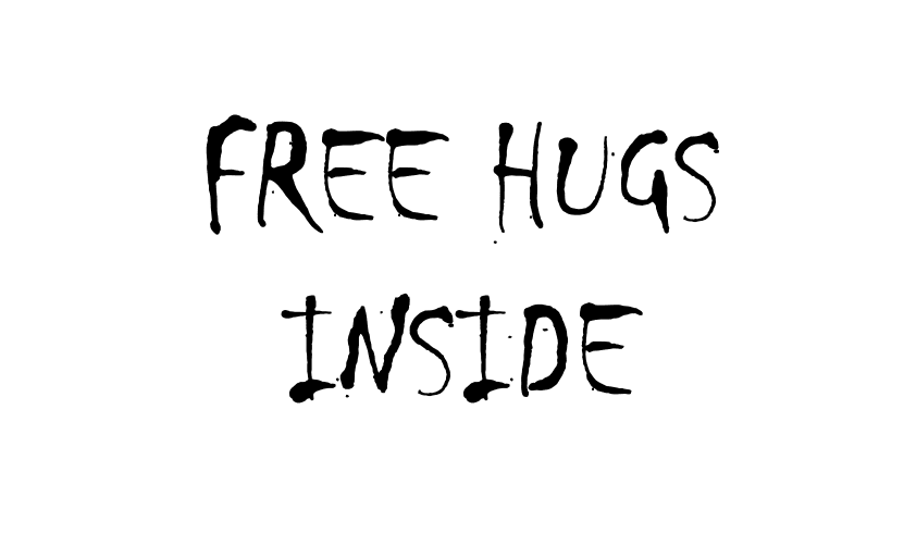 """Text reading """"Free Hugs Inside"""" in the ominous font Chiller, demonstrating the importance of font for your resume."""