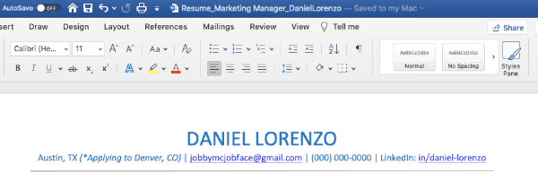 A screenshot of a resume in Microsoft Word, demonstrating a limitation of some free resume builders: they are sometimes not able to export your resume to Microsoft Word, which limits your ability to modify the resume.