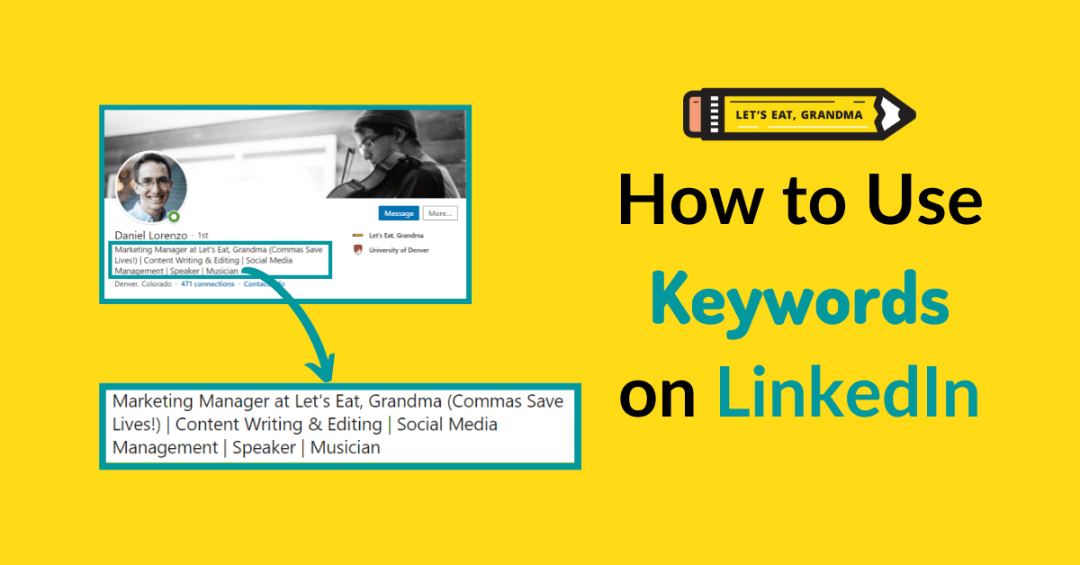 """A title graphic with an alternate version of the article's title: """"Top Linkedin Keywords for a 2021 Job Search"""" and a screenshot of the author's LinkedIn profile."""