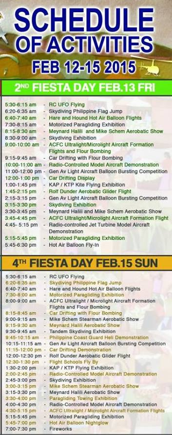 19th Philippine International Hot Air Balloon Festival Schedule (Day 2)