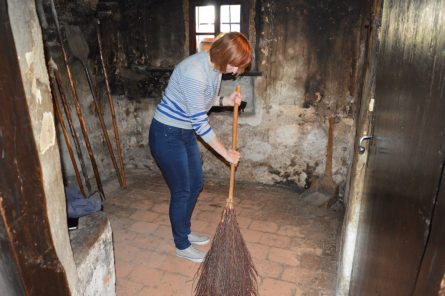 We even helped with sweeping the floor in the old kitchen.