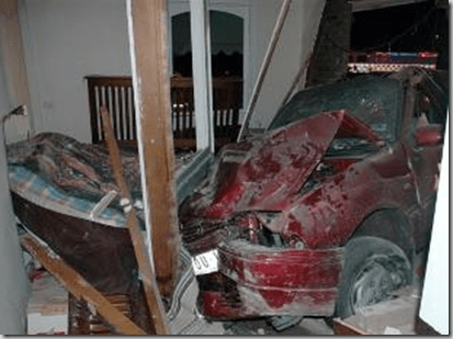 car crash in bedroom