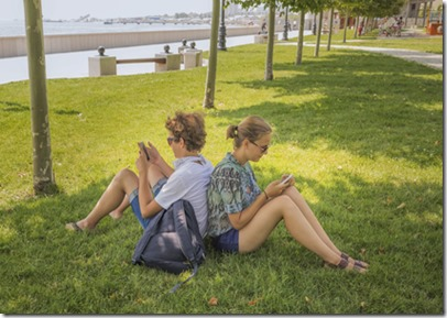 Young couple in a city park