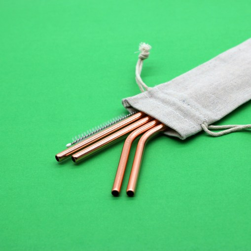 Stainless Steel Straws: Pouch (Rose Gold Set)