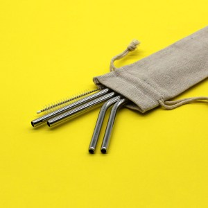 Stainless Steel Straws: Pouch (Silver Set)
