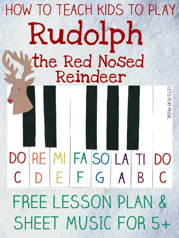 Nosed Reindeer Music Red Notes Letter Rudolph Sheet