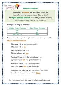 Grade 3 Grammar Topic 10: Personal Pronouns Worksheets ...