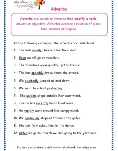 Page adverbs worksheet also grade grammar topic worksheets lets share knowledge rh letsshareknowledge