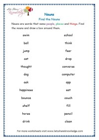 Grade 3 Grammar Topic 6: Nouns Worksheets - Lets Share ...