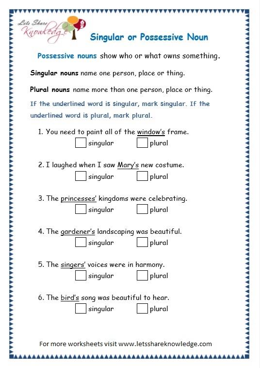 Possessive Nouns Worksheet For Grade 4