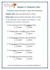 Possessive Nouns Worksheet For Grade 4 - singular ...