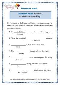 All Worksheets  Worksheets For Possessive Nouns