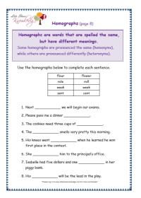 Grade 3 Grammar Topic 25: Homographs Worksheets - Lets ...