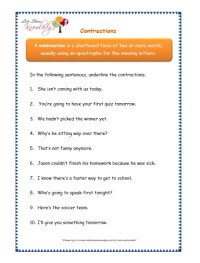 Contractions Worksheets Third Grade List. Contractions ...