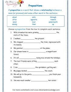 Page prepositions worksheet also grade grammar topic worksheets lets share knowledge rh letsshareknowledge