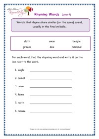 Grade 3 Grammar Topic 32: Rhyming Worksheets - Lets Share ...