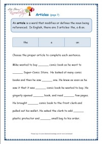 Grade 3 Grammar Topic 34: Articles Worksheets - Lets Share ...