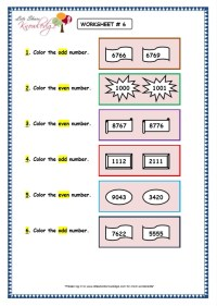 Grade 3 Maths Worksheets: 4 Digit Numbers (1.10 Even and