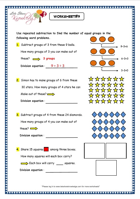 Grade 3 Maths Worksheets Division 6 1 Division By