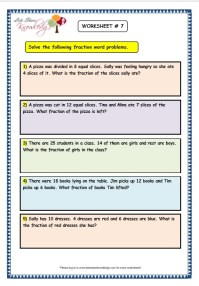 Grade 3 Maths Worksheets: (7.9 Fraction Word Problems