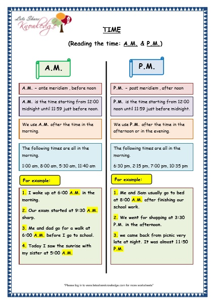 Grade 3 Maths Worksheets: (8.4 Reading the Time in AM and PM) - Lets Share Knowledge