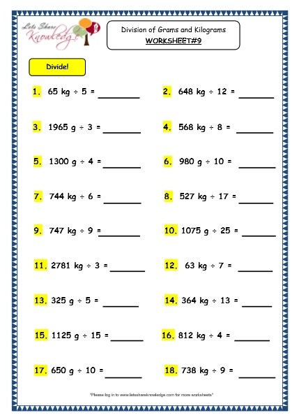 Grade 3 Maths Worksheets: (12.6 Division of Grams and Kilograms) - Lets Share Knowledge