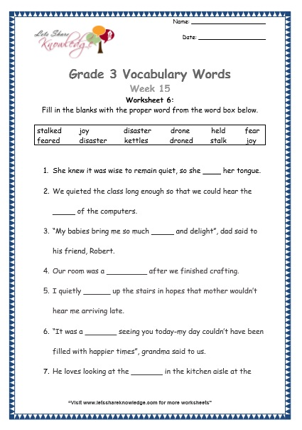 Grade 3 Vocabulary Worksheets Week 15