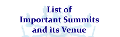 List of Important Summits and its Venue- Important GK Updates