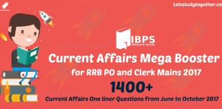 Current Affairs Mega Booster for RRB PO and Clerk Mains 2017
