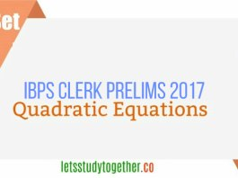 Quadratic Equation Quiz Set -4 IBPS Clerk