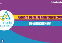 Canara Bank PO Admit Card