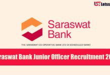 Saraswat Bank Junior Officer Recruitment 2018 - Apply Online