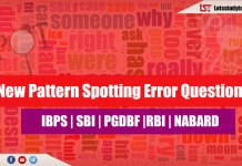 New Pattern Spotting Error Questions for SBI PO/Clerk 2018