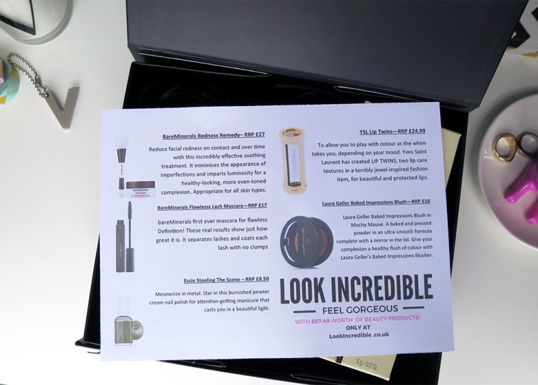 Contents of the Look Incredible beauty box