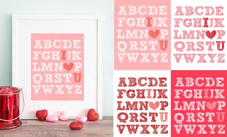 Free Valentines Day I Heart U Print