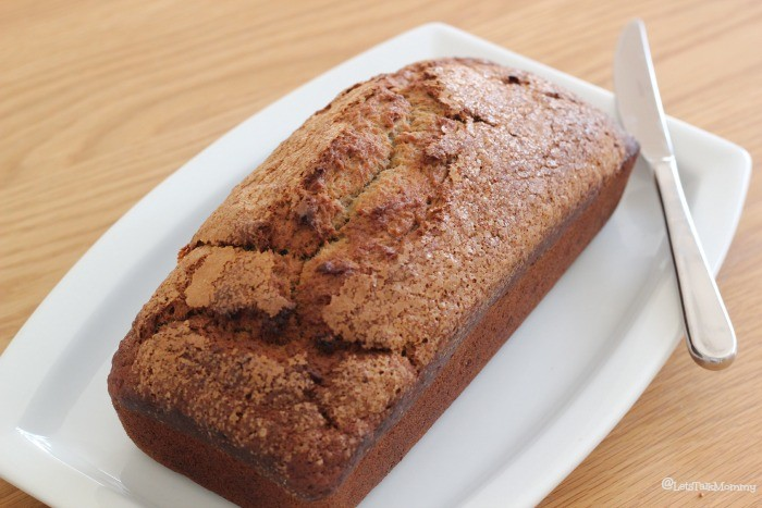 A cinnamon banana bread on a white plate