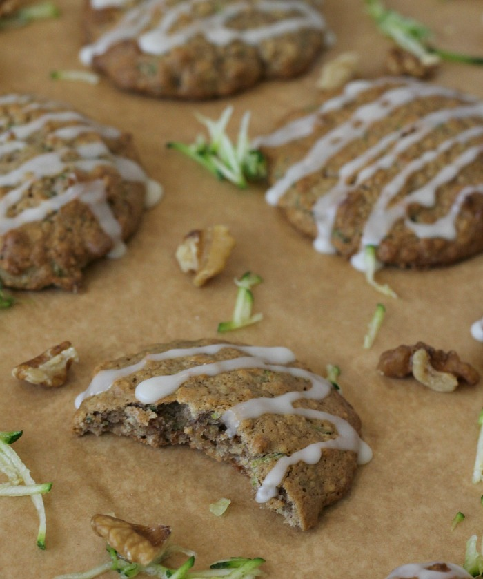 Oatmeal Courgette Cookies with glaze and walnuts
