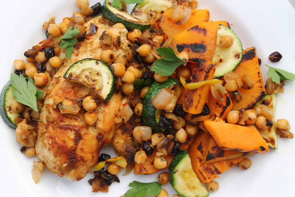 Cumin grilled chicken and chickpea salsa