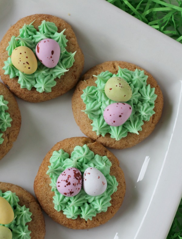 Easter Snickerdoodle Cookies on a white plate