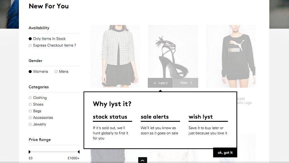 Lyst online shopping network