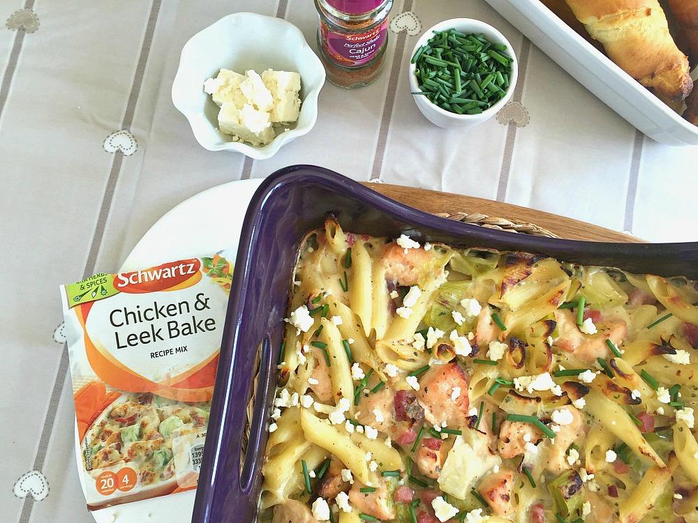 Schwartz Chicken & Leek Pasta Bake recipe cooking with my kids